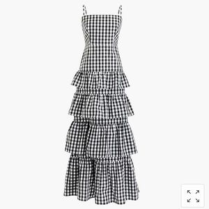 Tiered gingham black & white sundress/gown 💐